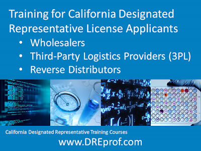 California Designated Representative Training - for wholesalers, 3PL. $525 per student. Board approved. Earns a training affidavit suitable for your license application.