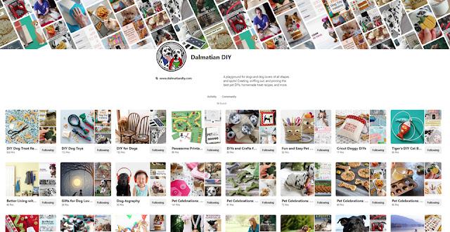 Screenshot of Dalmatian DIY's Pinterest dog boards