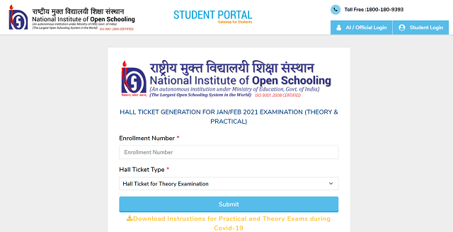 NIOS Classes 10 and 12 Admit Card Released