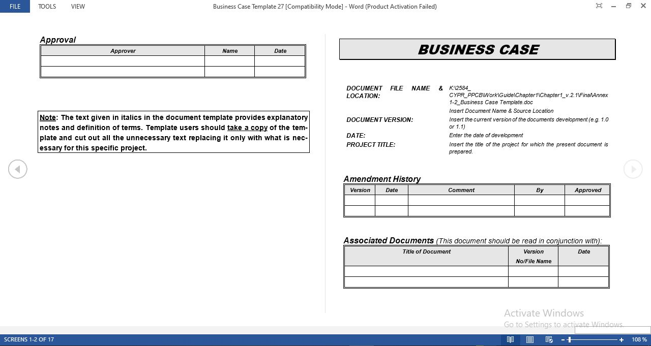 Simple business case template in word