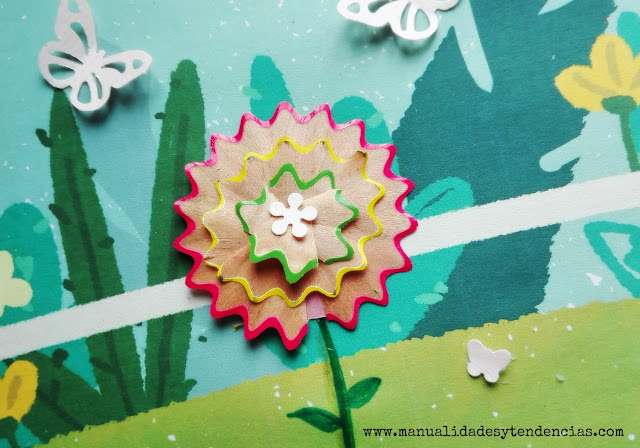 Flor de virutas de lápices de colores manualidades infantiles