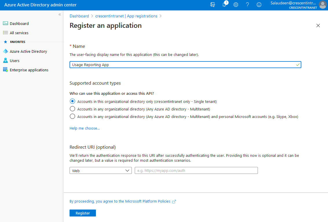 register application in Azure AD