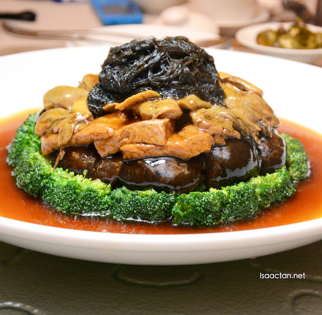 Braised Sliced Abalone, Mushroom, Sea Moss and Bean Curd with Garden Greens