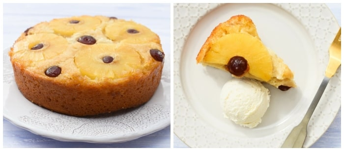 Vegan Pineapple Upside Down Cake - step 4 - cake turned out and served with vanilla ice cream