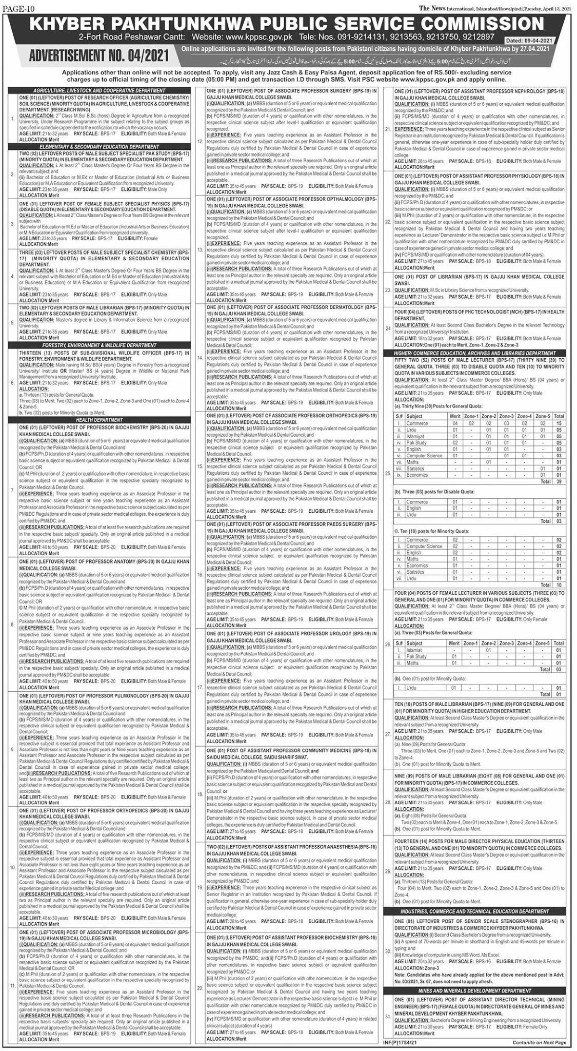 www.kppsc.gov.pk Jobs 2021 - KPPSC New Advertisement 2021 - Khyber Pakhtunkhwa Public Service Commission KPPSC Jobs 2021 in Pakistan