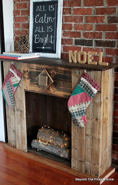 faux fireplace, barnwood, reclaimed wood, Christmas mantel, stockings, https://goo.gl/dPDK5r