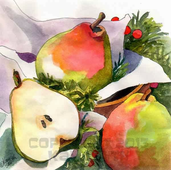 Christmas Pears.Kaysmithbrushworks Winter Pears Merry Christmas