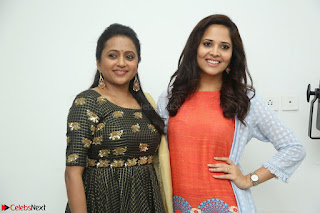 Actress Suma in Black Salwar Suit and Anusuya in orange Dress at winner movie press meet part 1 February 2017 (23).JPG