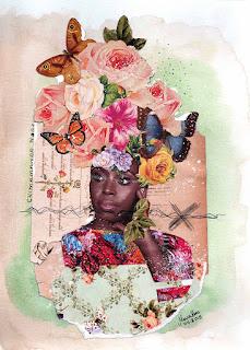 Imagem feita com colagem sobre Chimamanda, Por Maria Rosa