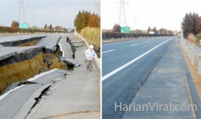 Luar Biasa, Hanya 2 Hari Jepang Perbaiki Sinkhole Sedalam 15 Meter