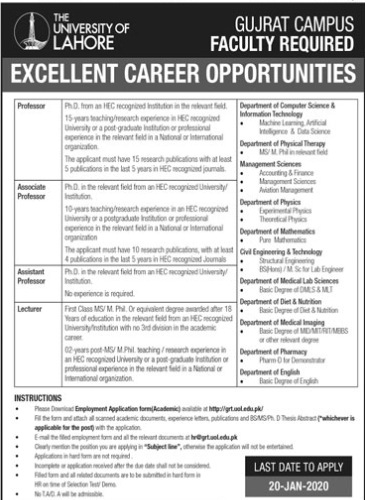 Jobs in The University of Lahore Latest Advertisement 2020