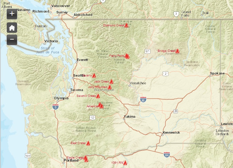 Spokane Wildfire Map.Washington Smoke Information Washington State Smoke Forecast For