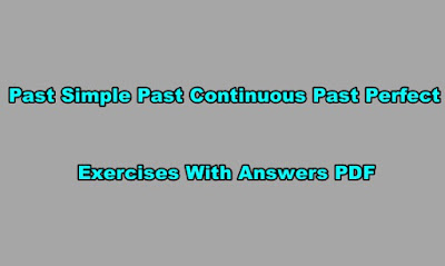 Past Simple Past Continuous Past Perfect Exercises PDF With Answers