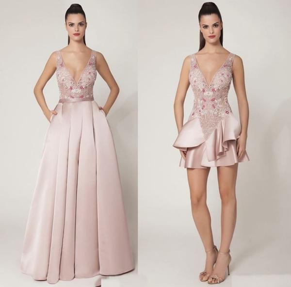 vestido de festa 2 em 1 saia removivel
