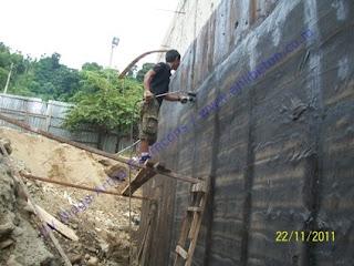 waterproofing membrane bakar pada dinding basement