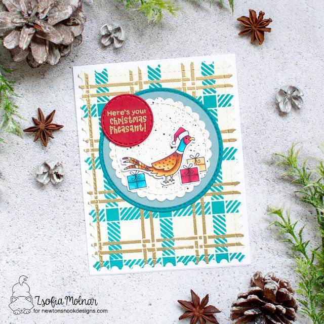 Pheasant Christmas Card by Zsofia Molnar | Christmas Pheasant Stamp Set, Plaid Stencil Set Framework Die Set and Circle Frames Die Set by Newton's Nook Designs