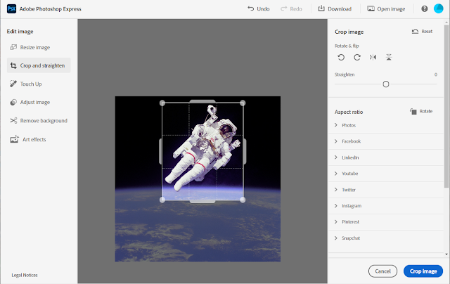 1. Removing the Astronaut's background - Open the image in Photoshop Express. Select the Crop and Straighten menu item and crop the image.