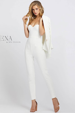 Sweetheart With Jacket Evening Dress Ieena For Mac Duggal White Color Front