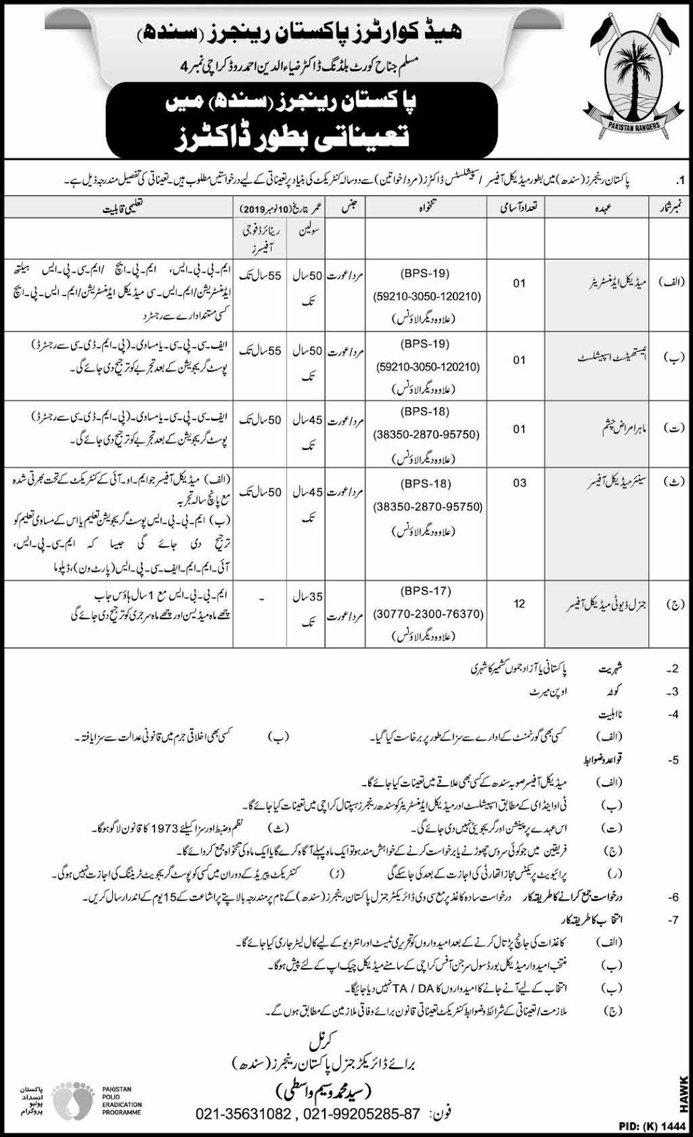 Pakistan Rangers Jobs for Doctors and Medical Officers