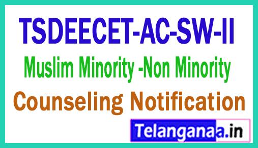Telangana TSECET-AC-SW-II Muslim Minority Non Minority Counseling Notification