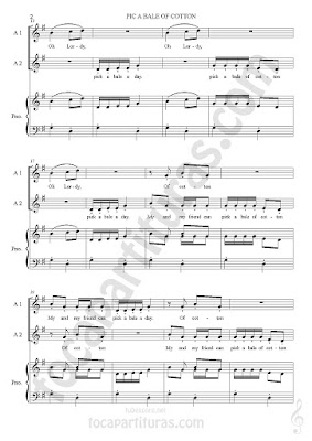 2 Score Pick a Bele of Cotton Partitura de Piano y Voces a dúo. Sheet Music for piano and Two Voice