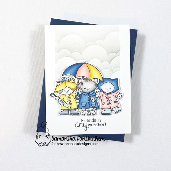 Friends in Any Weather Card by Samantha VanArnhem | Newton's Rainy Day Trio Stamp Set and Clouds Stencil by Newton's Nook Designs #newtonsnook #handmade