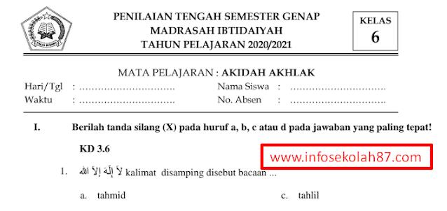 Contoh Soal PTS Aqidah Akhlaq Kelas 1 Sampai 6 MI Semester 2