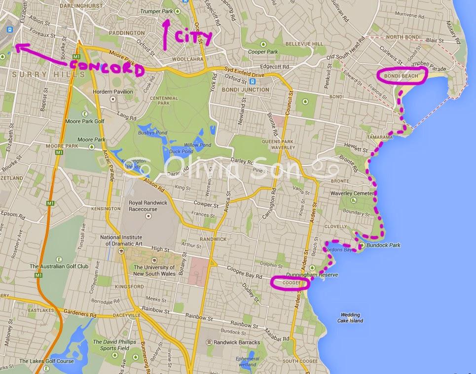 carte Bondi-Coogee Walk, Sydney, Australie