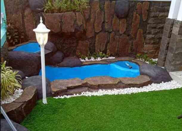 Taman kolam kecil konsep minimalis modern