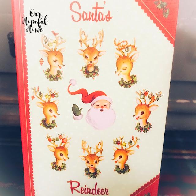 Santas Reindeer retro book cover Christmas gift box