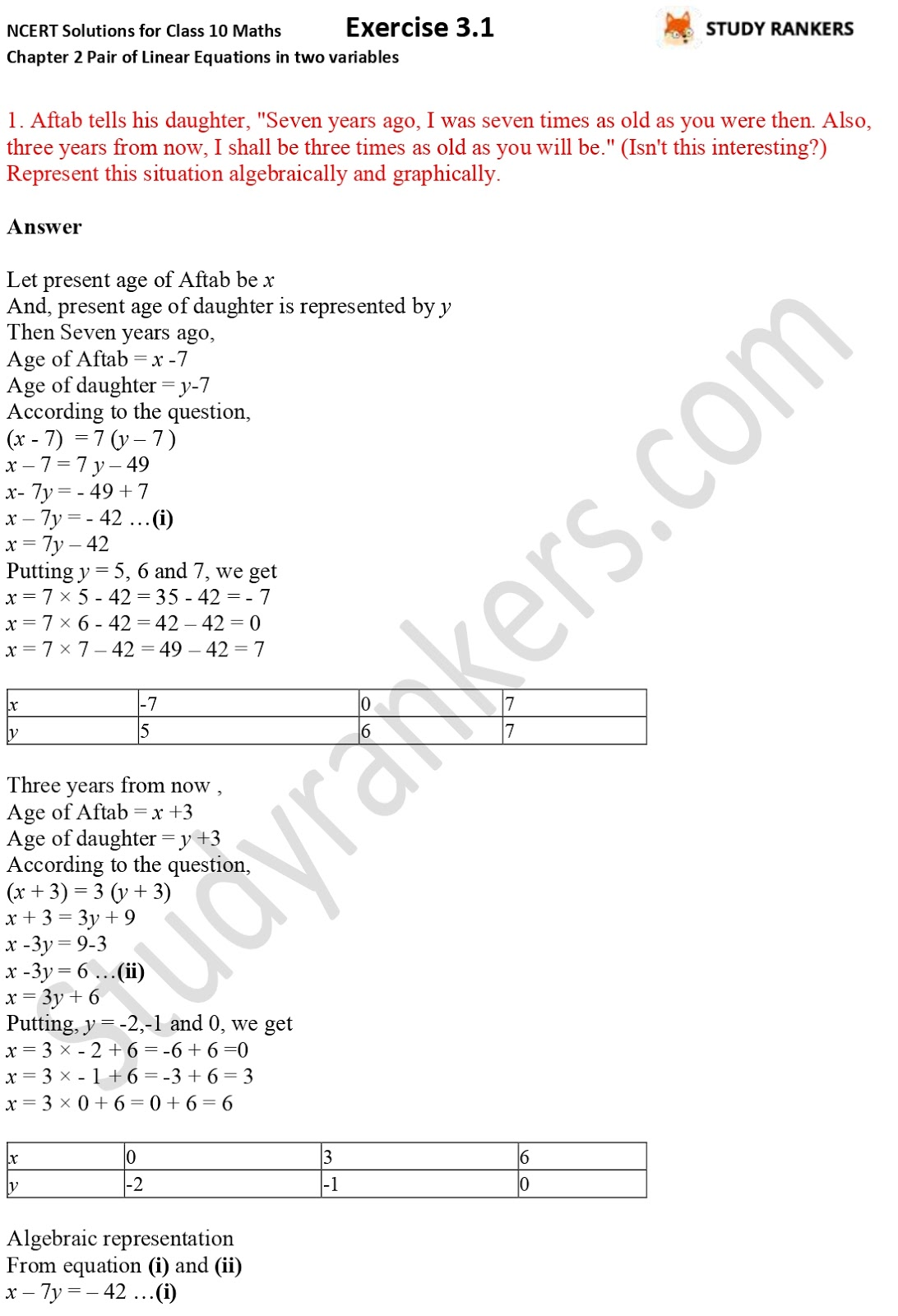 NCERT Solutions for Class 10 Maths Chapter 3 Pair of Linear Equations in Two Variables Exercise 3.1 Part 1