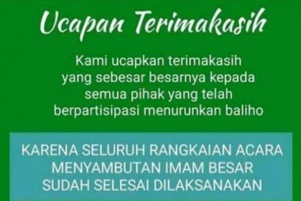 Baliho Habib Rizieq Dicopot, FPI Ucapkan Terima Kasih ke TNI