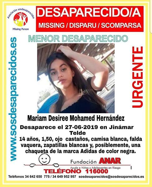 Se encuentra como desaparecida en Jinámar, Telde, la menor de 14 años  Mariam Desirée Mohamed Hernández