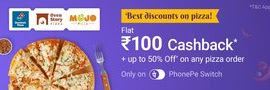 PhonePe Switch Food Offer - Get Rs.100 Cashback On Pizza Order