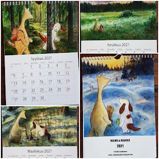 Hulmu Hukan ja Haukku Koiran seinäkalenteri