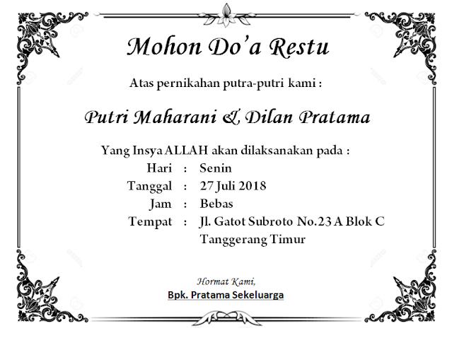 Contoh Undangan Pernikahan (via: buatmakalah.com)