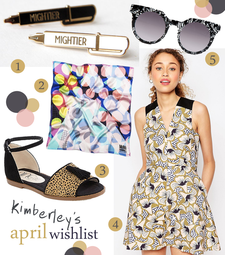 Wishlist, wish list, April wishlist, Pen Enamel Pin Badge, Rock Cakes, Grid Scarf by Mimi Hamill, Pony Hair Sandals, Nine by Savannah Miller, ASOS x Chichia, Poppy Lissman x Lazy Oaf sunglasses, collaboration