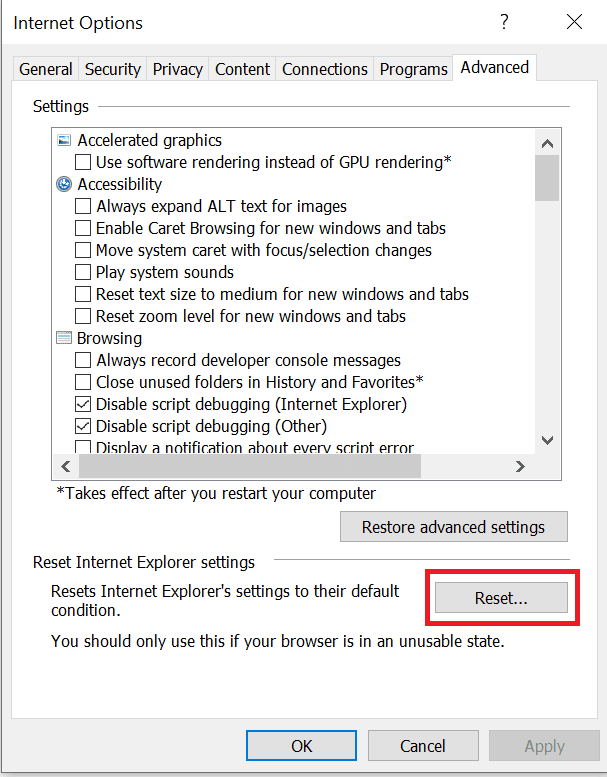 cara reset internet explorer tombol reset