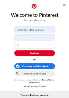 sign up pinterest