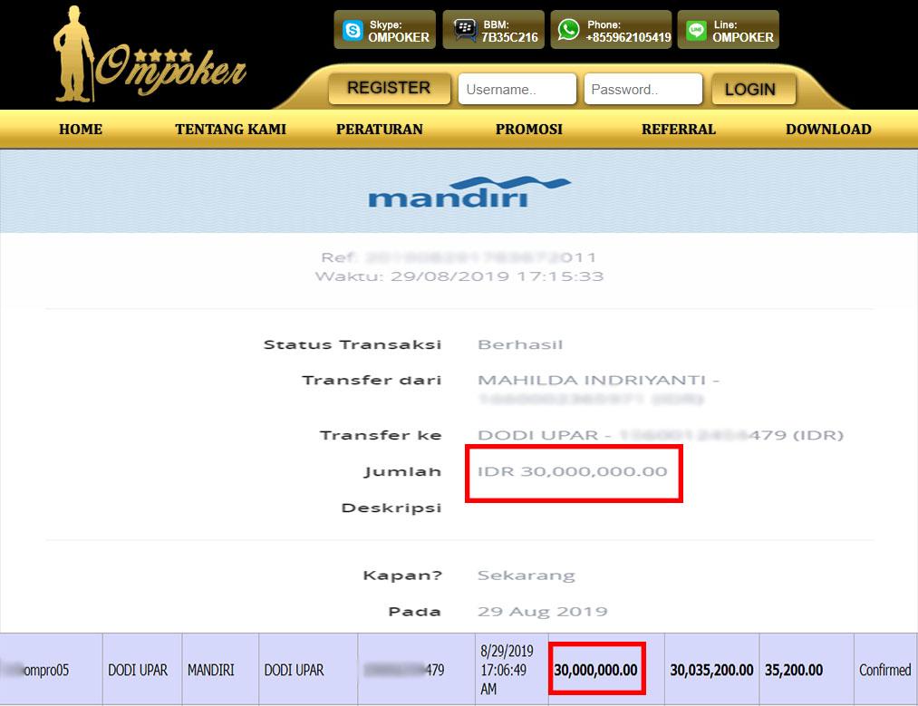 Selamat Kepada Member Setia Ompoker WD Rp 30.000.000