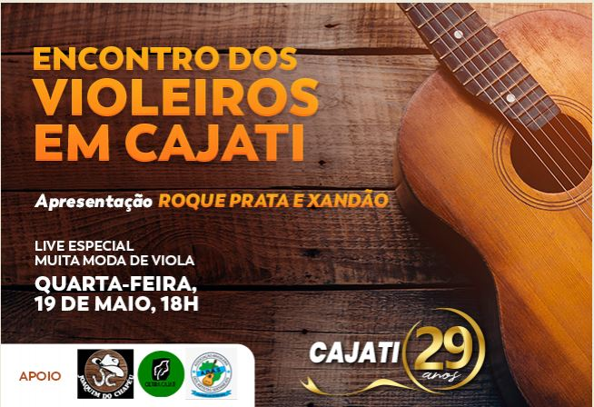 Assista o Encontro de Violeiros em Cajati no dia 19 de maio, às 19h