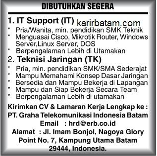 Lowongam Kerja PT. Graha Telekomunikasi Indonesia Batam