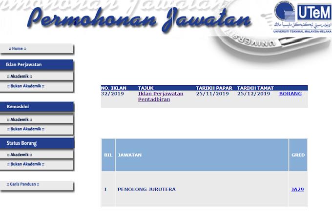 Jawatan Kosong Terkini di Universiti Teknikal Malaysia Melaka (UTEM).