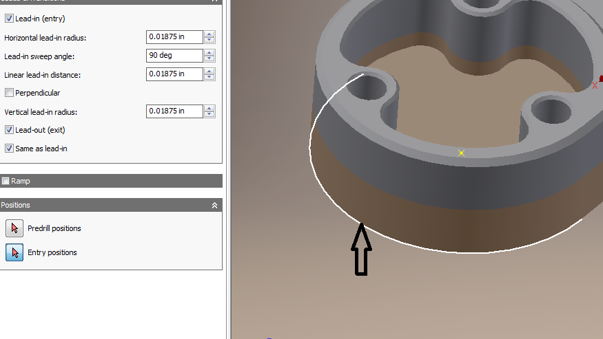 Nichols' Corner CAD/CAM: Entry position of tool in toolpath