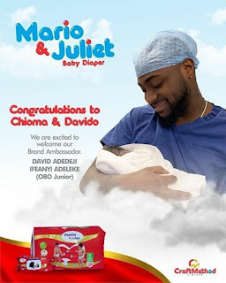Davido's Son becomes Mario And Juliet Brand Ambassador, Hours After Birth