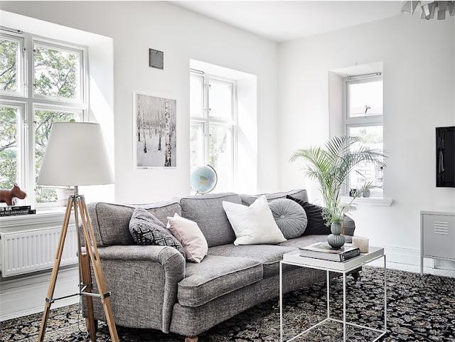 sofa gris interiorismo escandinavo chicanddeco