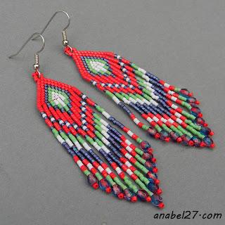 этнические серьги купить цветные серьги ручной работы из бисера