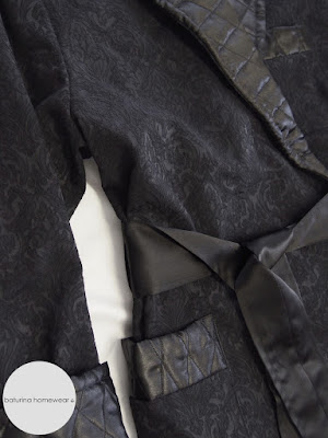 Elegant long nightwear robe for men, made from quilted black satin and jacquard silk.