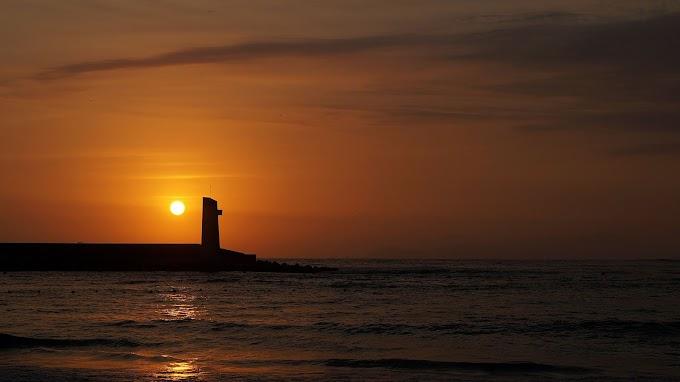 Farol, Pôr do Sol, Mar, Nuvens, Horizonte