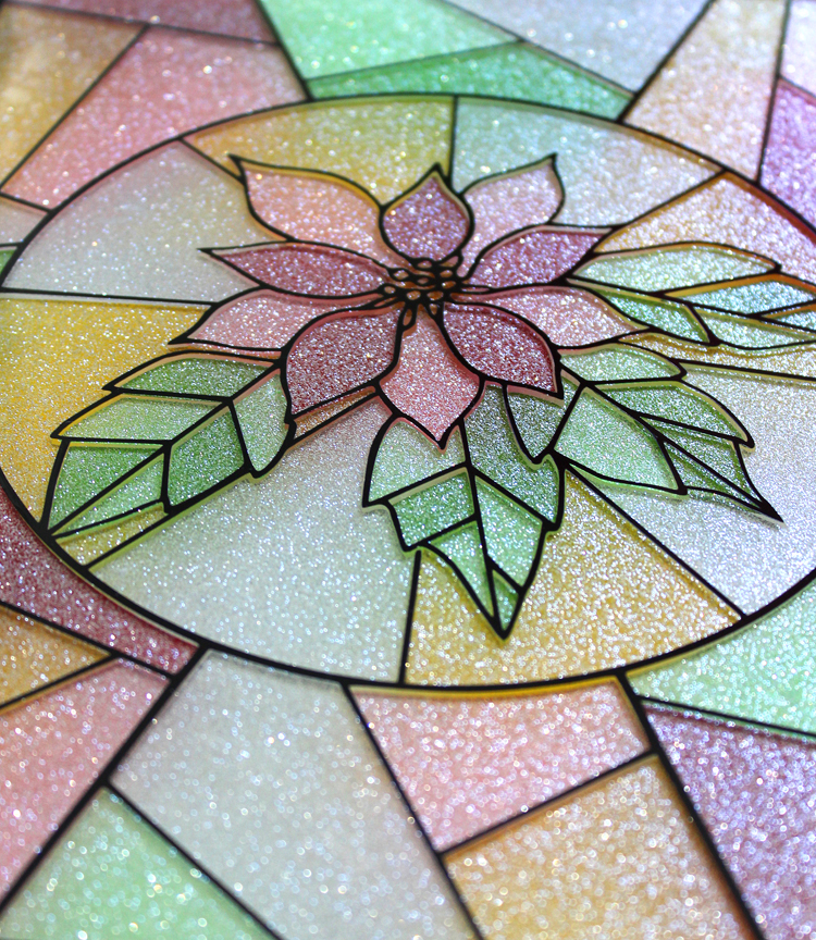 Make a faux stained glass window craft using glitter vinyl